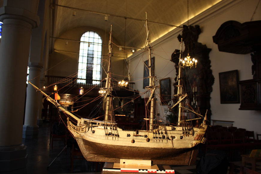 The ex-voto model from 1783 presumed to be a three-dimensional representation   Le Dragon  , in the nave of the Capuchin Church at Ostend