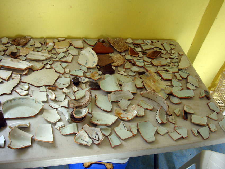 The Faienceware sherds from The Faience wreck, with the numbering complete prior to being wrapped in tissue paper