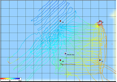 The partially side-scanned survey area showing the four corners of the Survey Area, the actual path taken, and the location of the shipwreck (Wreck Two) that we found