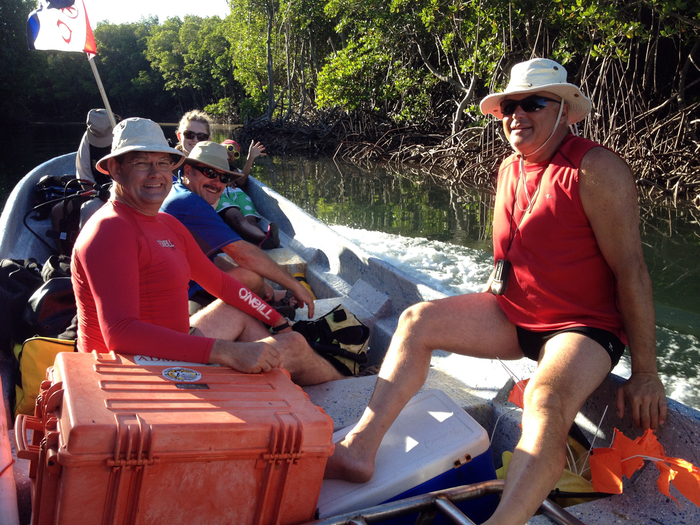 Dr Spooner, Christine O' Sullivan (under the hat),  Nikki Bose, John Downing, Ruth Pion, and Raimund Krob on the way to   Le Casimir   wreck site in 2014
