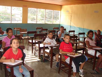 The youngest students about to start an English test.