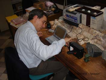 Dr. Francois Gendron setting up the RAMAN Microprobe at the Institute in Paris
