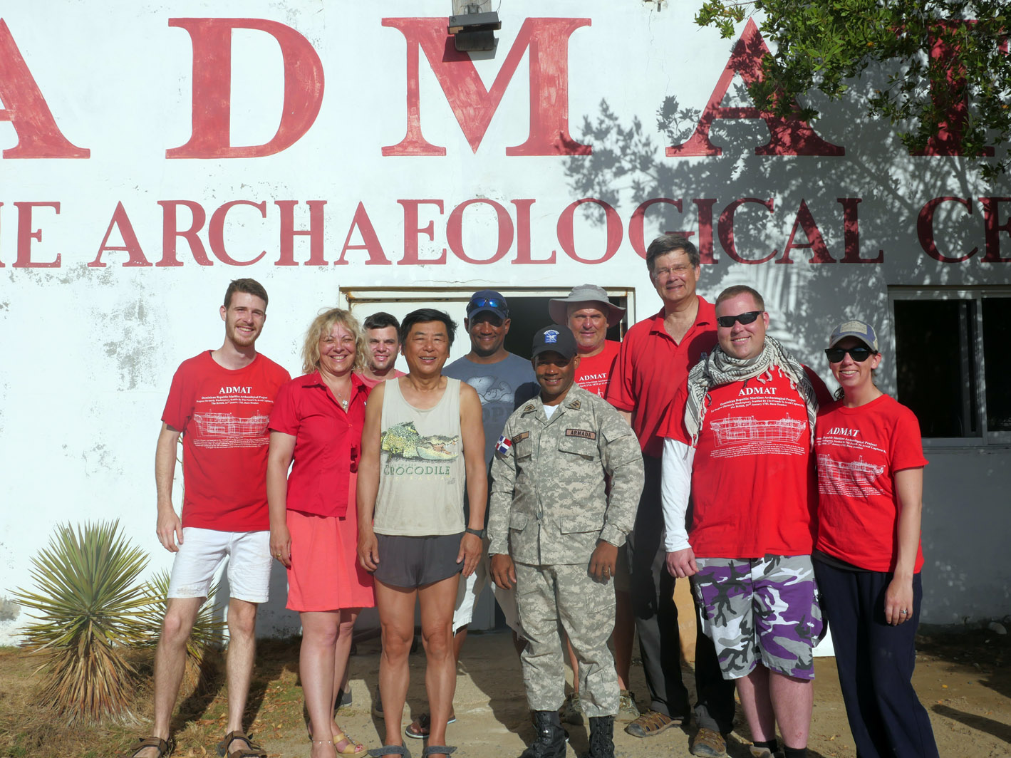 Some of the 2019   Le Dragon   Maritime Archaeological Survey Team, at ADMAT's Centre in Monte Cristi. From Left to Right: Connor Grzesiak, PhD student Florence Prudhomme, Steve Frehn, Bob Yee, Sandy, Lt Venture ONPCS, Project Leader Raimund Krob, Dr. Simon Spooner Project Director, Stephen Able and Jessica Piner.