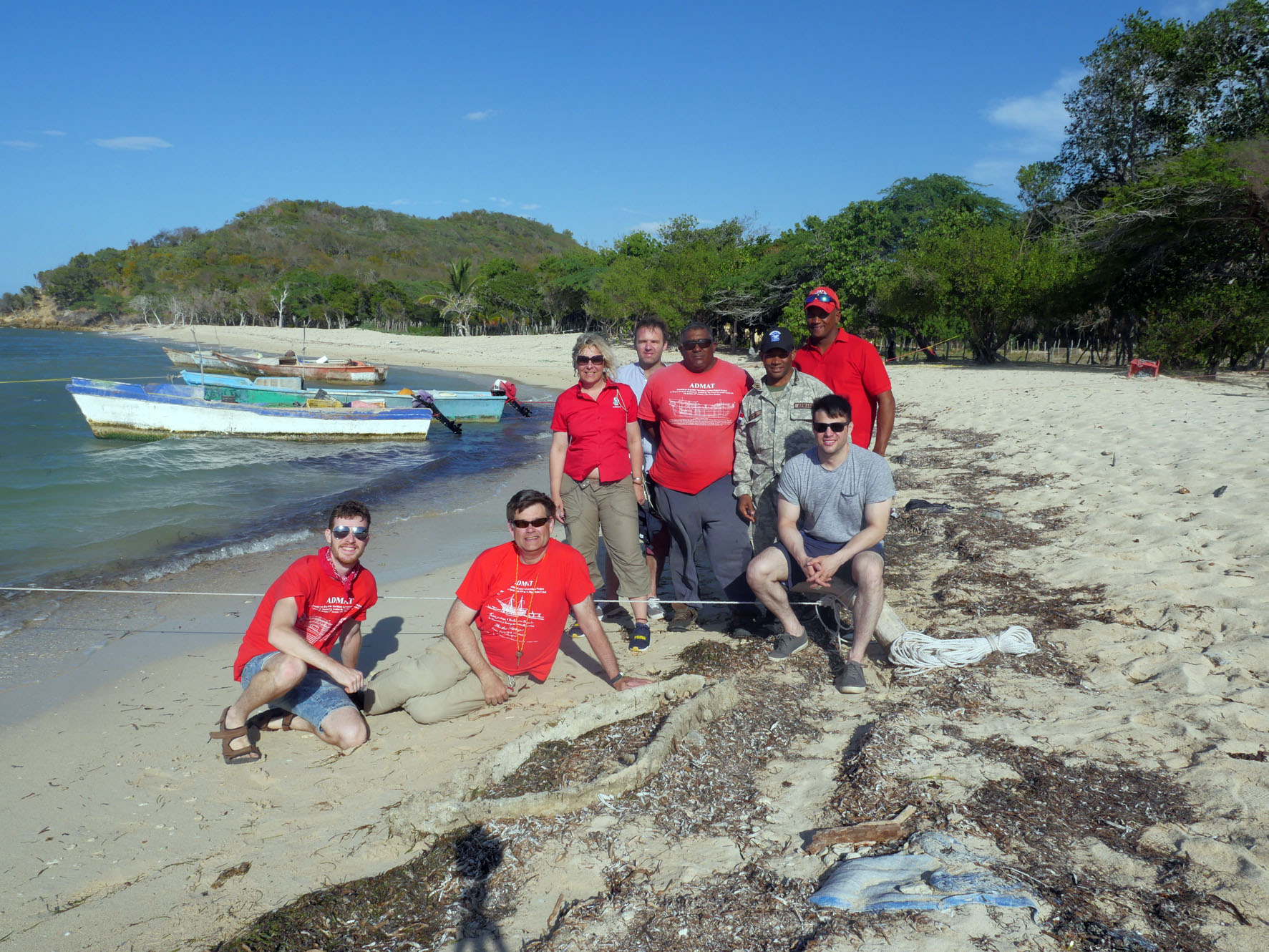 Some of the   Le Dragon   Team with a gudgeon which had broken into two seperate pieces. From Left to Right:, Connor Grzesiak, Dr Simon Spooner, Florence Prudhomme, Louis Desvernay, Rami, Lt Venture, Sandy and Steven Frehn.