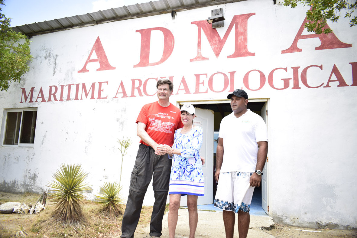 Dr Spooner left with the Honourable Robin S Bernstein, American Ambassador to the Dominican Republic who visited ADMAT'S Maritime Archaeological Centre in July 2019.