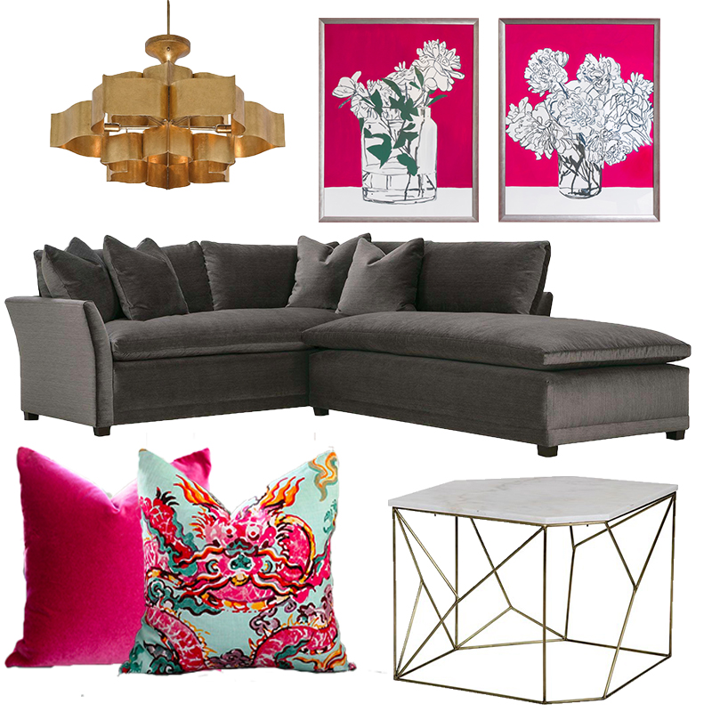 Chandelier by Currey & Co (Available at  Price Style and Design ) // Art by  Bridgette Thornton  (Available at  Price Style and Design  // Sectional by Robin Bruce (Available at Price Style and Design) // Pillows from  Etsy  // Table by Noir (Available at  Price Style and Design )