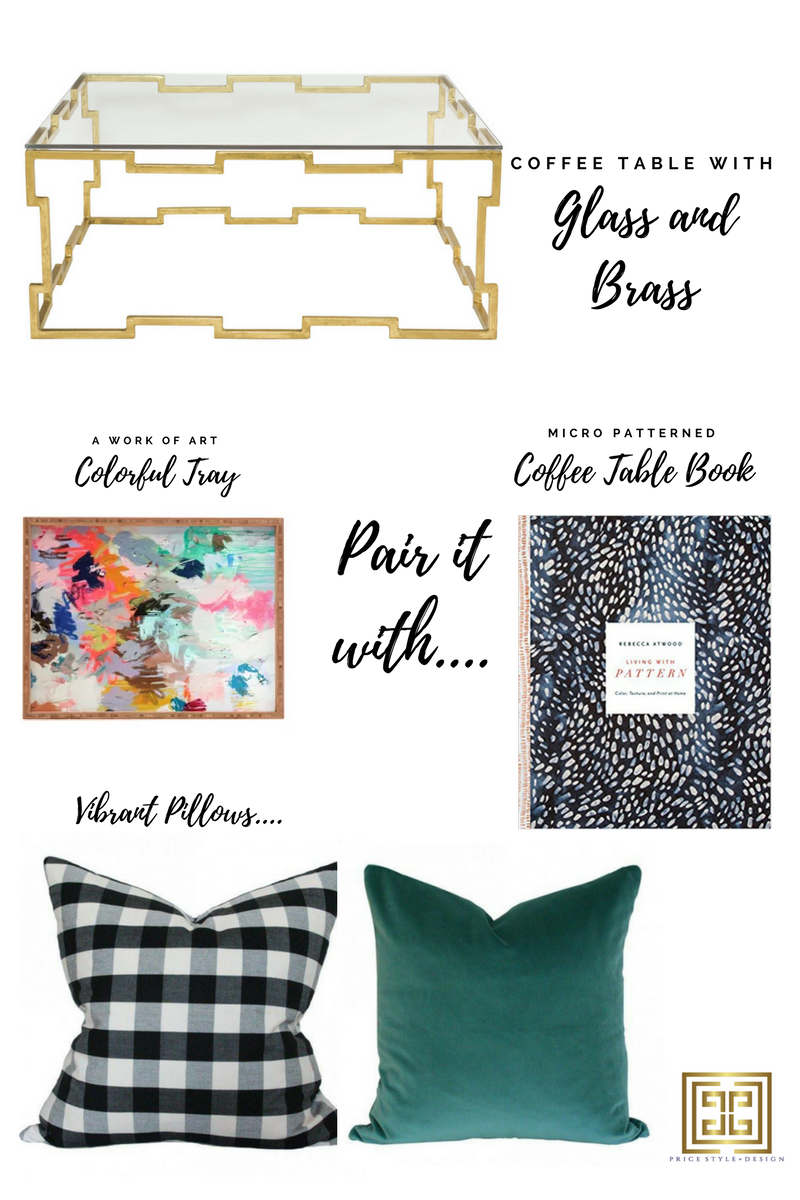 Click on these links for more information or to purchase:  Coffee Table  //  Tray   //  Coffee Table Book  //  Buffalo Check Pillow  //  Teal Pillow