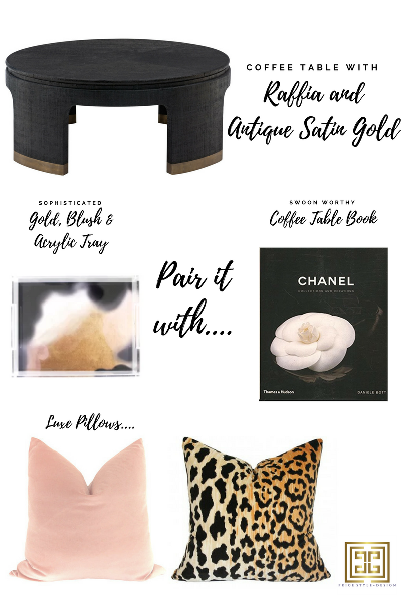 Click on these links for more information or to purchase:  Coffee Table  //  Tray  //  Book  //  Blush Pillow  //  Leopard Pillow