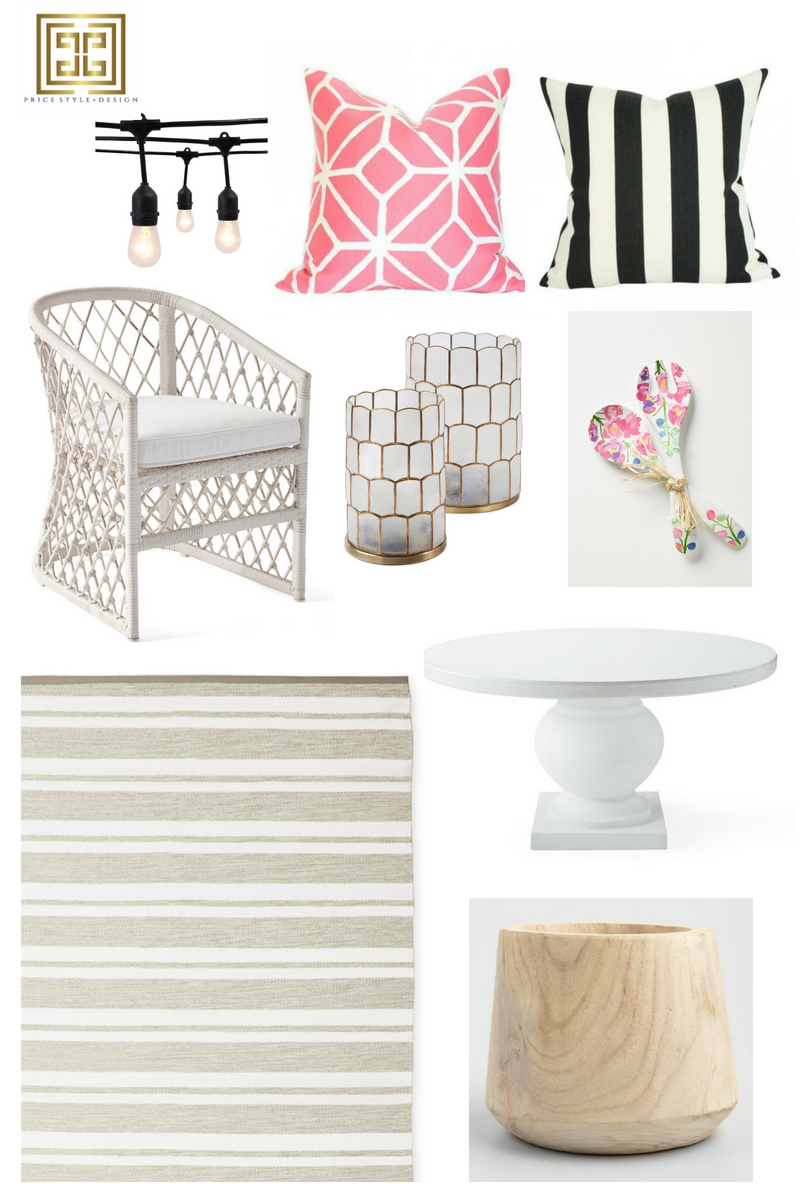 Outdoor Lights  //  Pink Pillow  //  Striped Pillow  //  Salad Tongs  //  Dining Table  //  Wooden Planter  //  Outdoor Rug  //  Dining Chair  //  Candle Holders