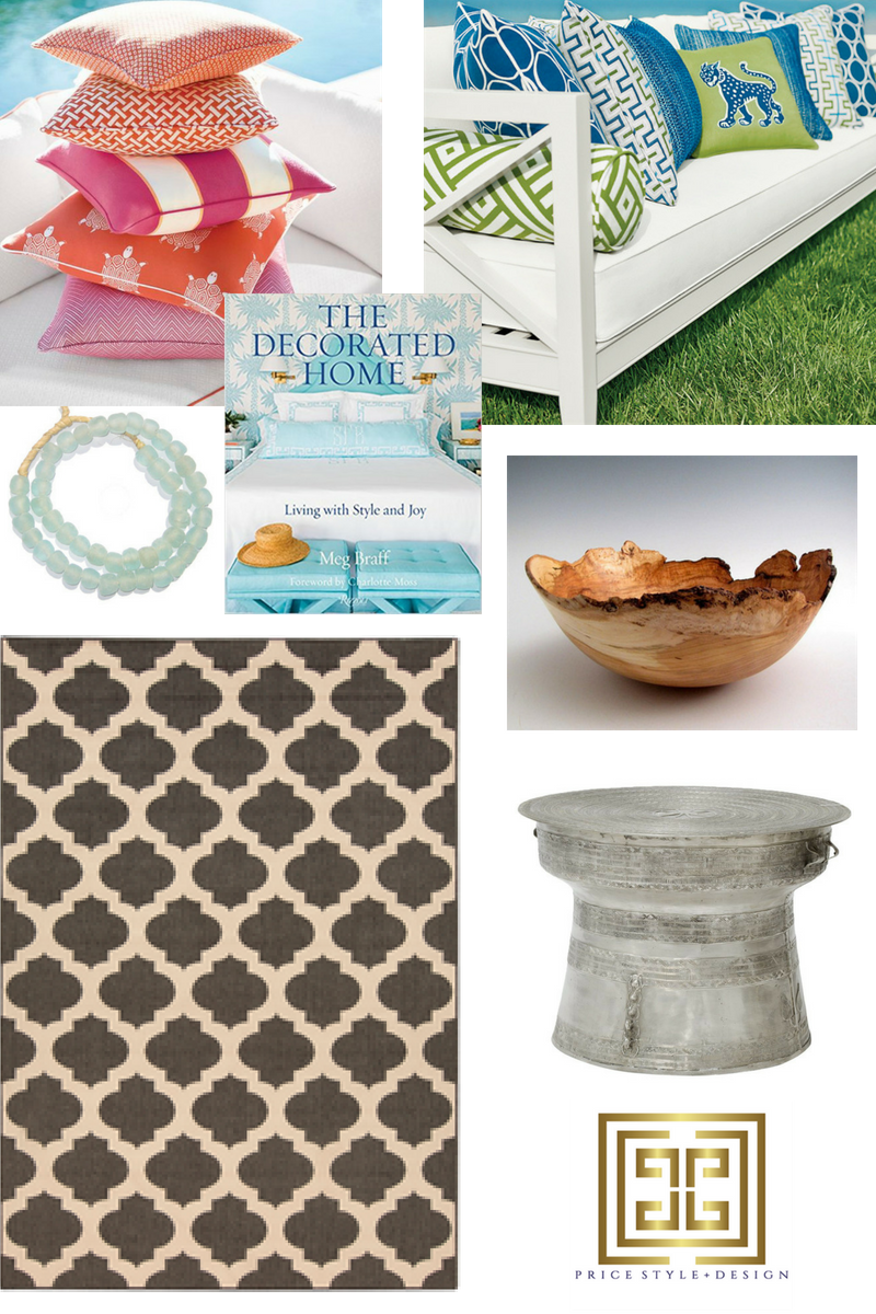 Click on links to purchase:   Outdoor Fabrics  (available through my  design studio ) //  Glass Beads  //  Meg Braff Design Book  //  Wooden Bowl  //  Palecek Rain Drum Table  //  Rug