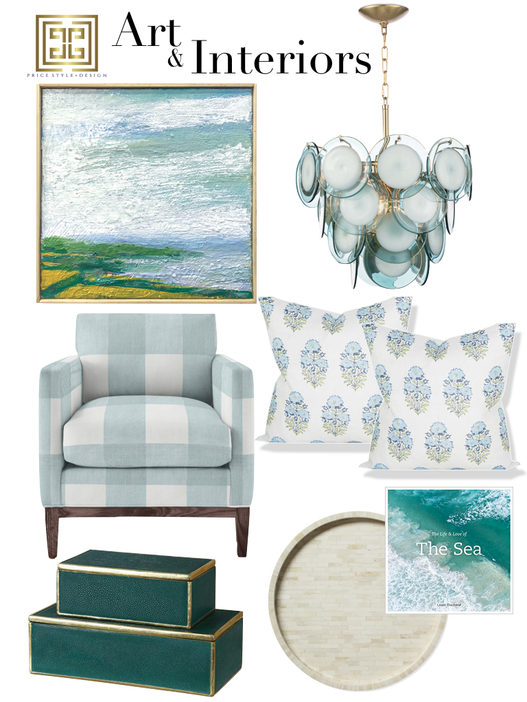 Click to go to the source:  Art  //  Chandelier  //  Chair  //  Pillows  //  Round Tray  //  Coffee Table Book  //  Emerald Boxes