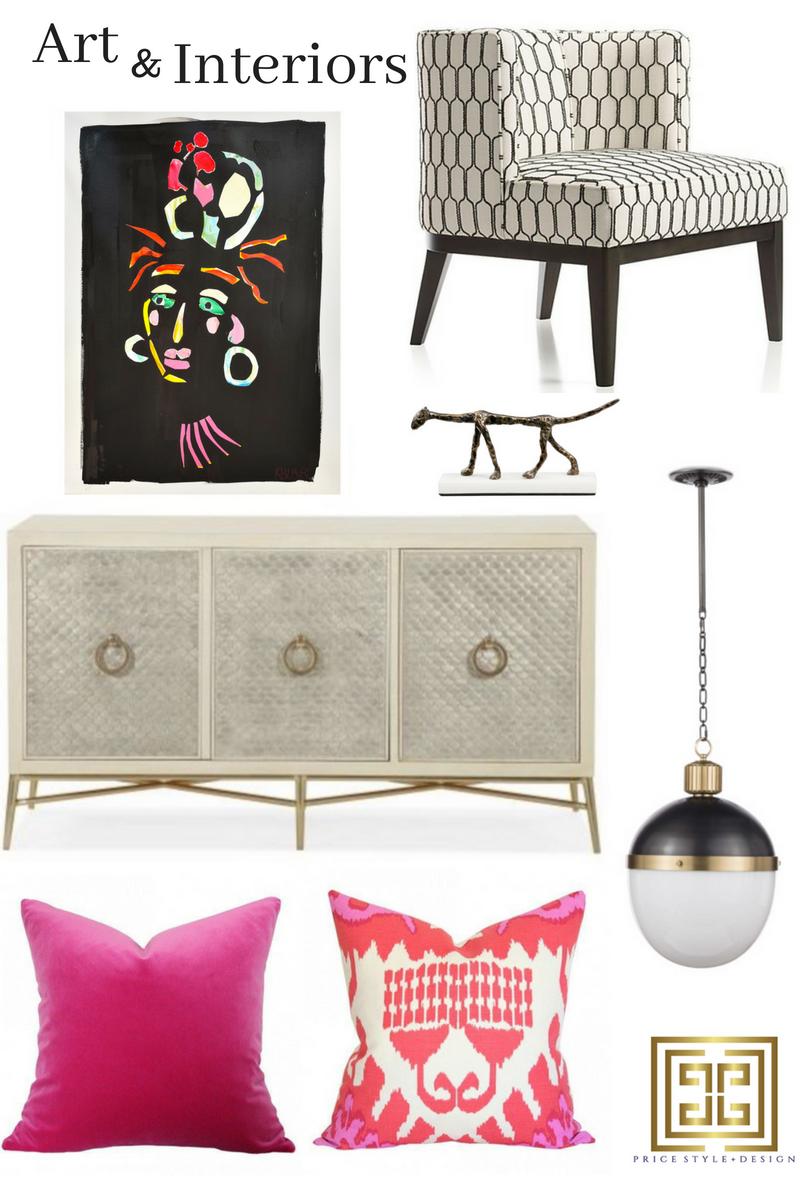 Art  //  Chair  //  Sculpture  //  Pendant  //  Console Chest  //  Pink Pillow  //  Ikat Pillow