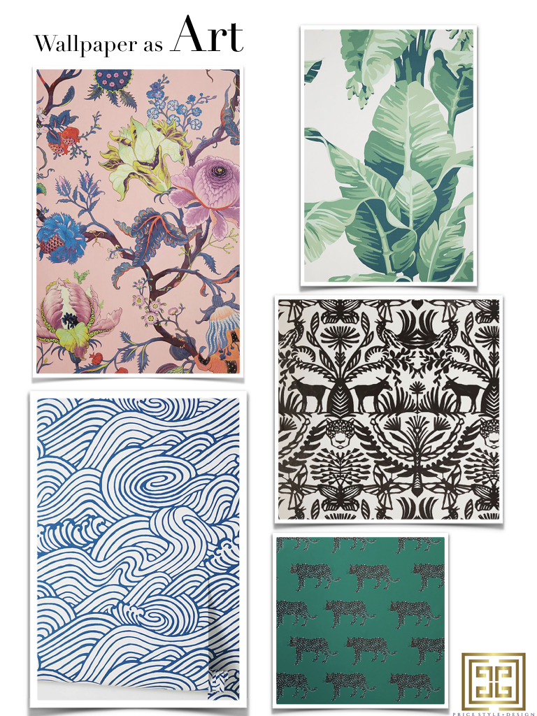 Pink Floral  //  Green Palms  //  Black and White Otomi  //  Green with Black Panthers  //  Blue Swirl