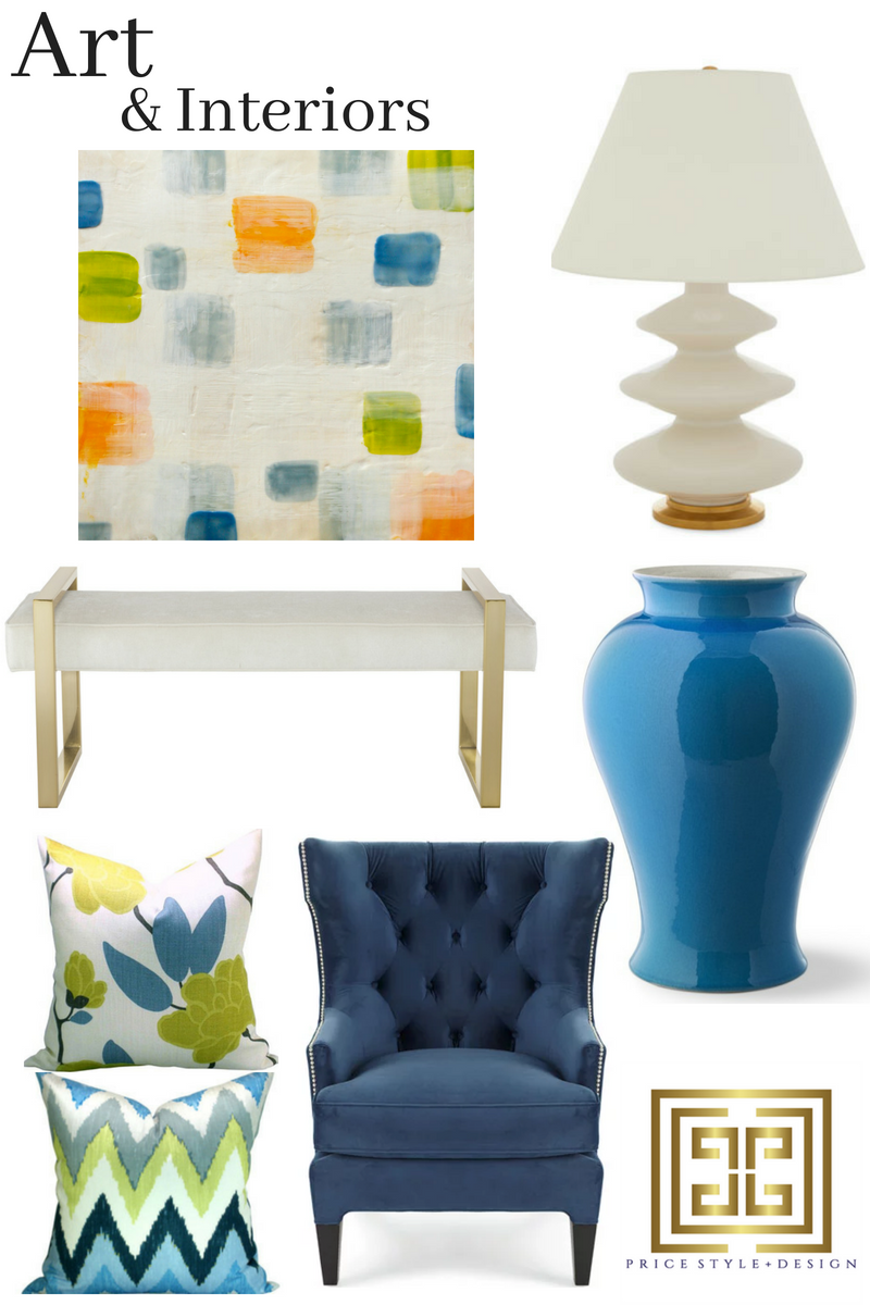Art  //  Lamp  //  Ginger Jar  //  Chair  //  Pillow  //  Pillow  //  Bench
