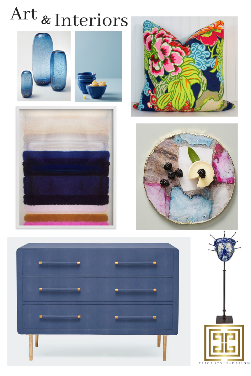 Blue Vases  //  Blue Bowls  //  Pillow  //  Cheese Platter  //  Art  //  Blue Dresser  //  Sculpture