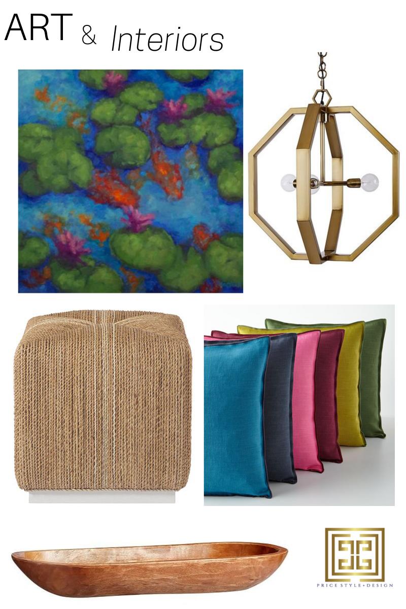Art by  Sydney Hall  //  Light Fixture  //  Ottoman  //  Pillows  //  Wooden Bowl