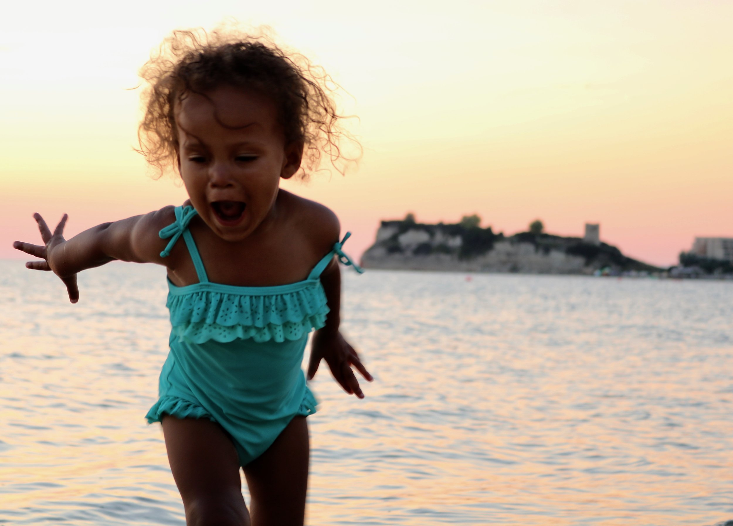 Lily at the beach outside Thessaloniki at Sunset (photo cred: Michael Jeje)