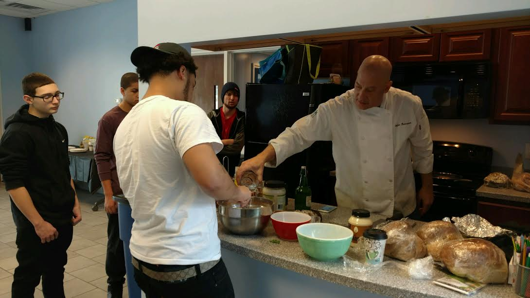 Chef Stefan Davenport teaching our students the ways of vegan cooking