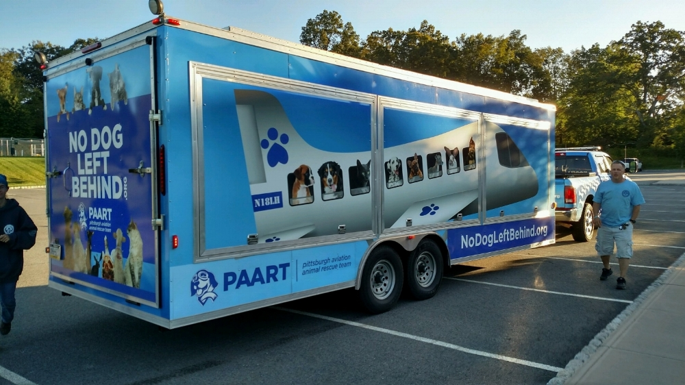 PAART (Pittsburgh Aviation Animal Rescue Team) arrives on Sept. 9 at St. Hubert's with animals from Charleston Animal Society in SC.