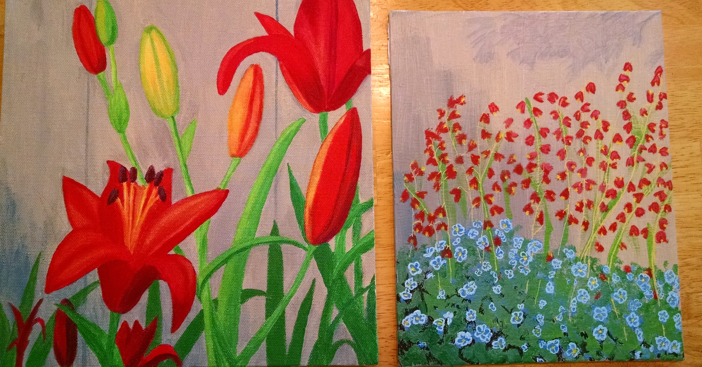 Red Lilies (on canvas) and Coral Bells (on art board). Gifted to my brother Joseph and sister Jo Ann, respectively.