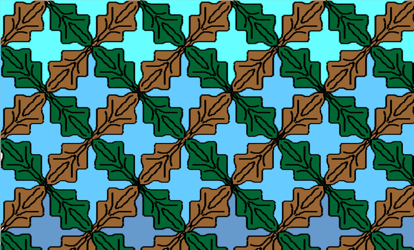 A few years ago, I played around making tessalations with a free program called Tess. It's still around, but now you have to pay for it.  This one is called Oak Leaves.