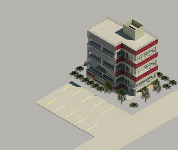 Sample Apartment Building In Revit with a Central Core, Stair Case Assembly, Elevator Shaft, Interstitial floors for MEP equipment and Curtain Wall Assembly using brick and CMU construction.
