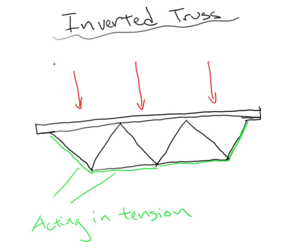 For the spaghetti bridge, I informed the group that the noodles would act better in tension than compression, therefore building an inverted truss would expose most of our main beams to tensile forces. We focused our resources on areas of compression and again only put materials where it was needed. Even though we ran out of time and were only able to complete one truss, the bridge did very well because I applied my knowledge of structure and material strentgh.