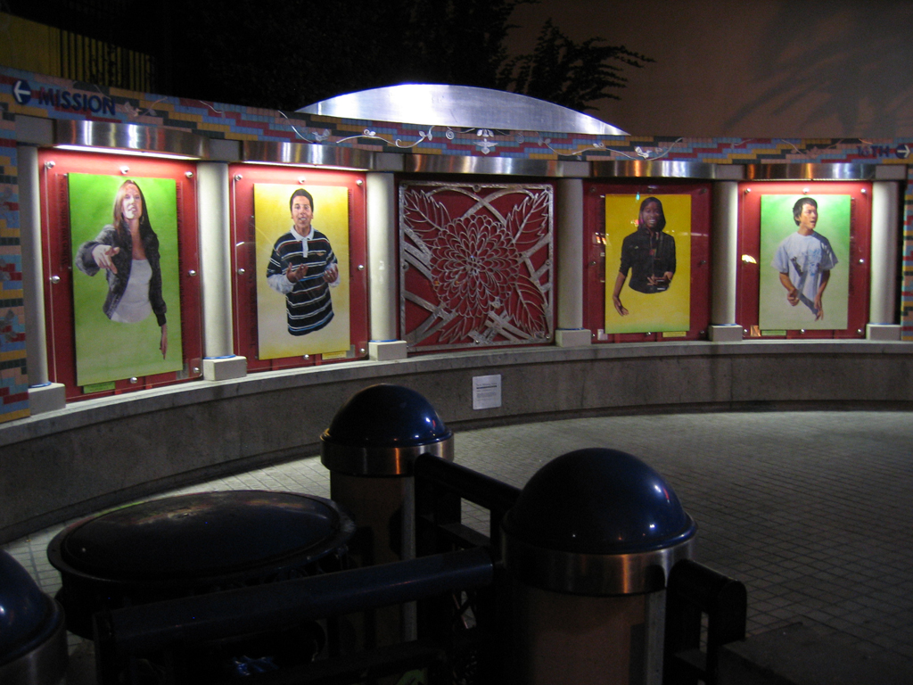 Portrait installations at 16th BART station in San Francisco.