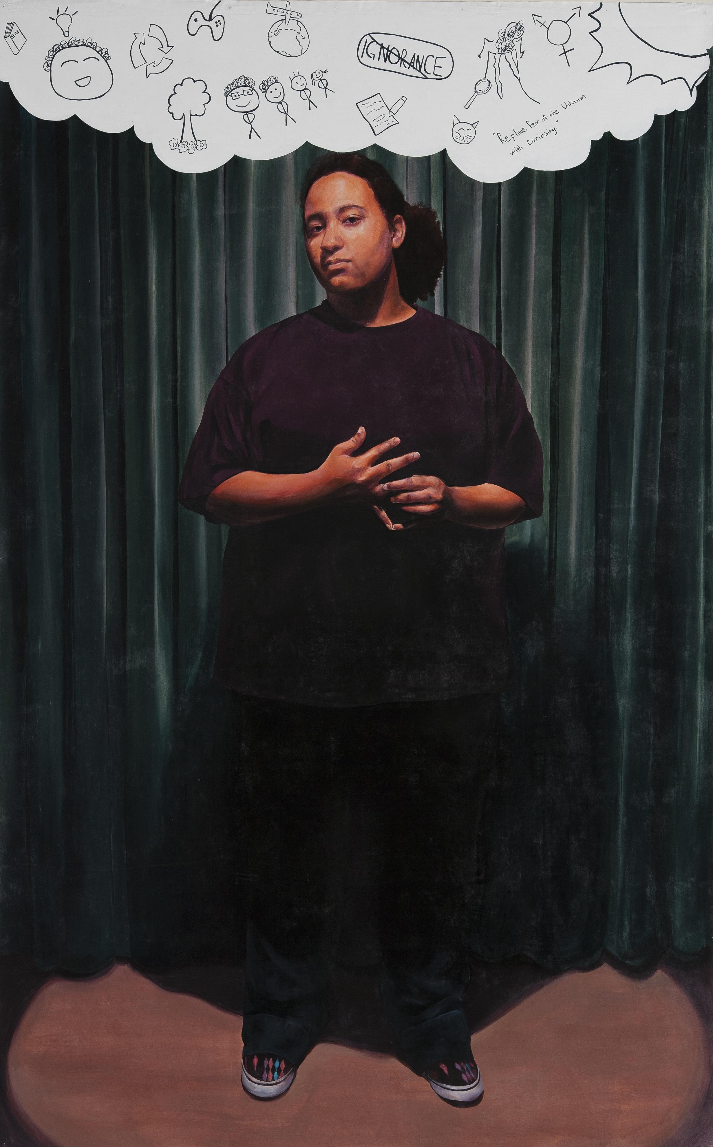Sadie  Acrylic and oil pastel on non-woven media, 8'x5'