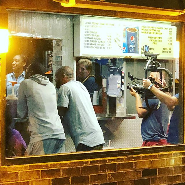 Randy Moss and Charles Woodson filming a spot for ESPN Monday Night Football at The Wiener Circle.