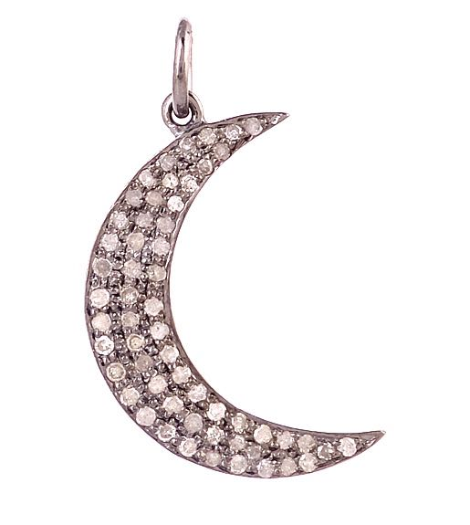 Vintage Style Diamond Moon Pendant