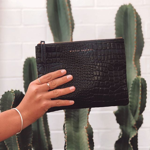 Carries all the essentials. 🐊 [ Fake It - Black Croc ] @status_anxiety 🎞️ @piperwood_