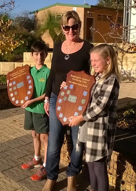 Shield recipients Hayden Loughnan and Hannah Mark with Toni Collins, Club Patron.