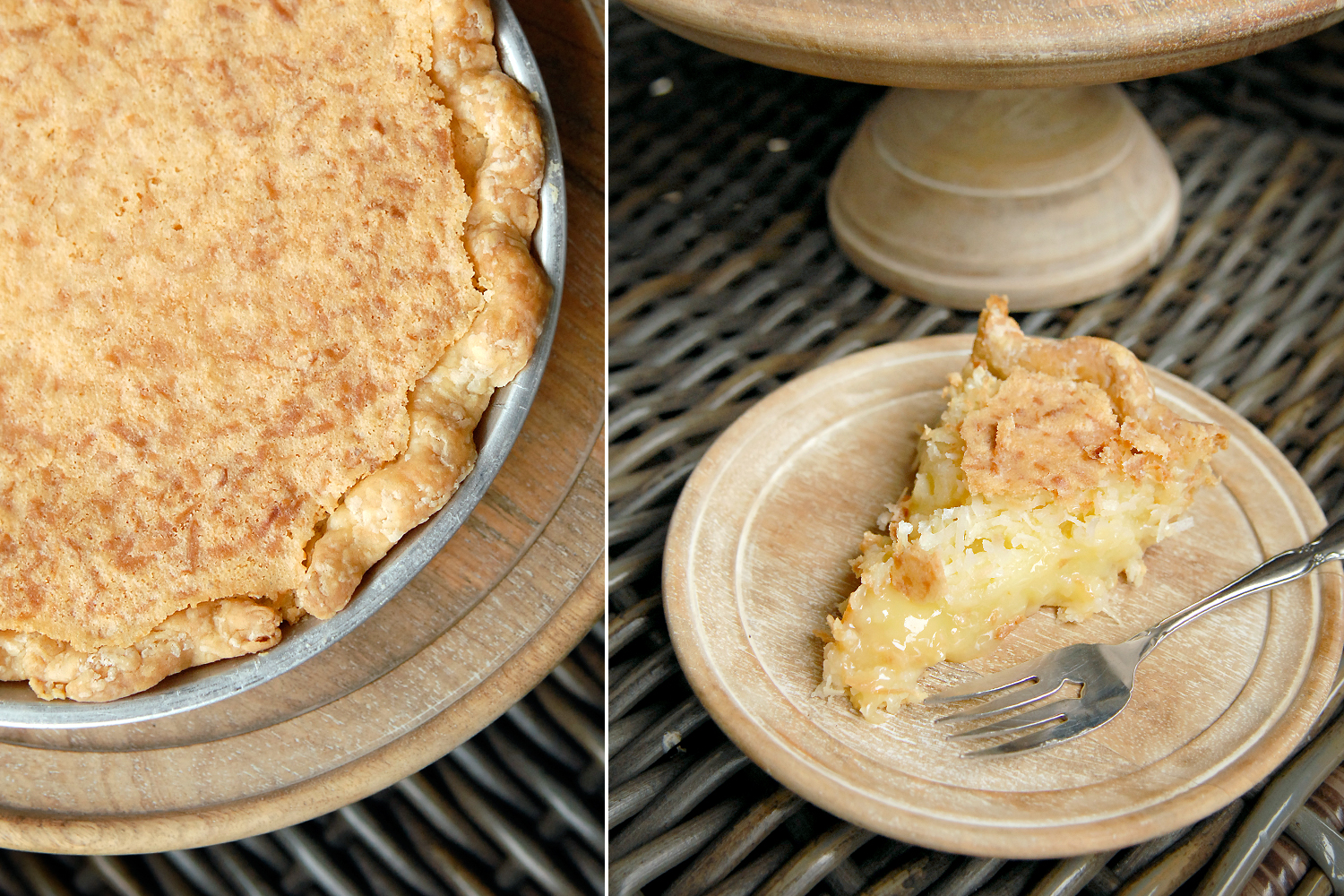 Coconut Custard Pie   5.25 per slice / 36 whole  This pie dates back to 1893! Ours is very buttery and laden with coconut that rises to the top as it bakes! Immensely satisfying.