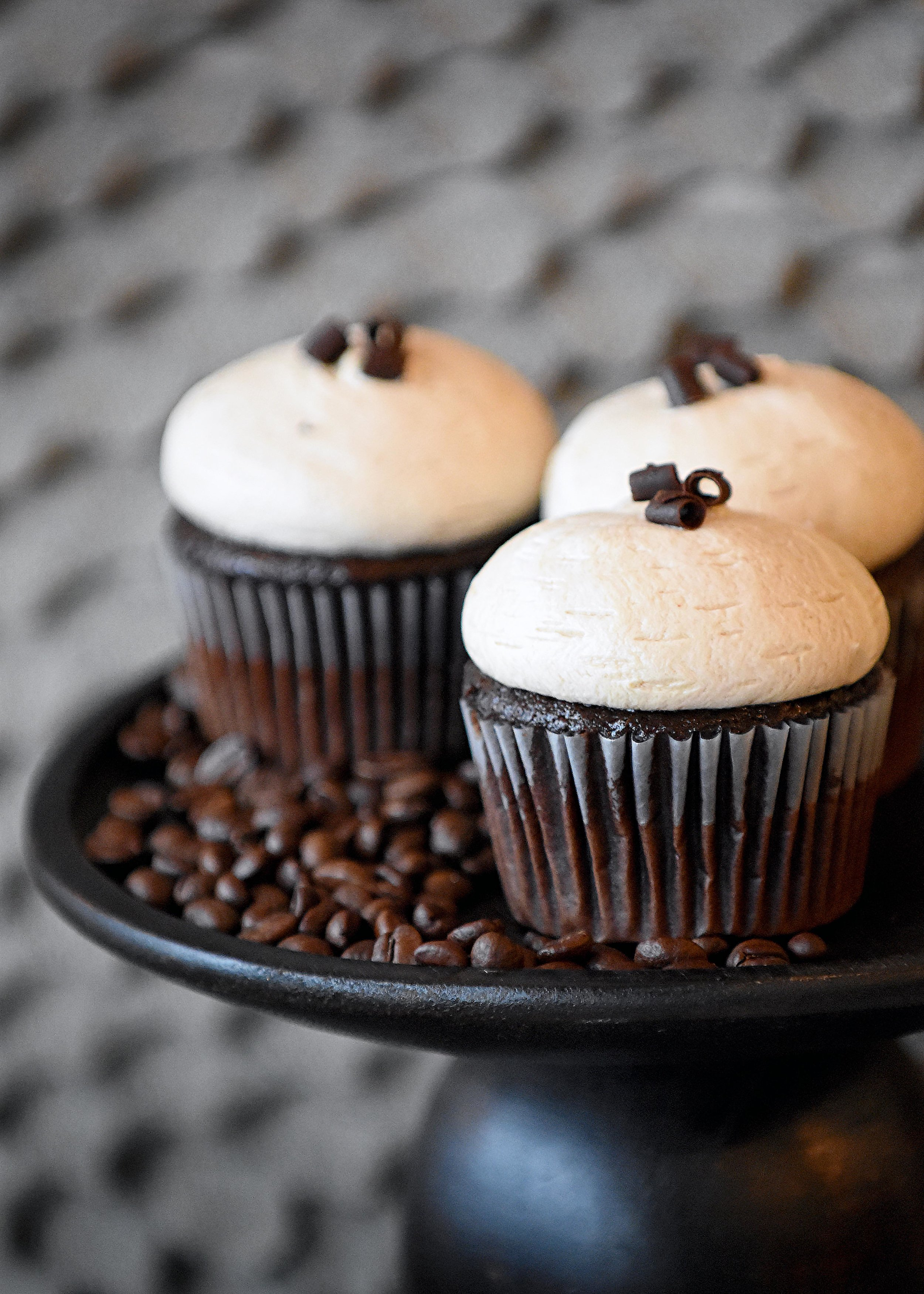 Mocha Buttercream Cupcake   2.95 each  Our All American Chocolate cupcake iced with a coffee buttercream blend. The perfect combination of coffee & chocolate in a cupcake!