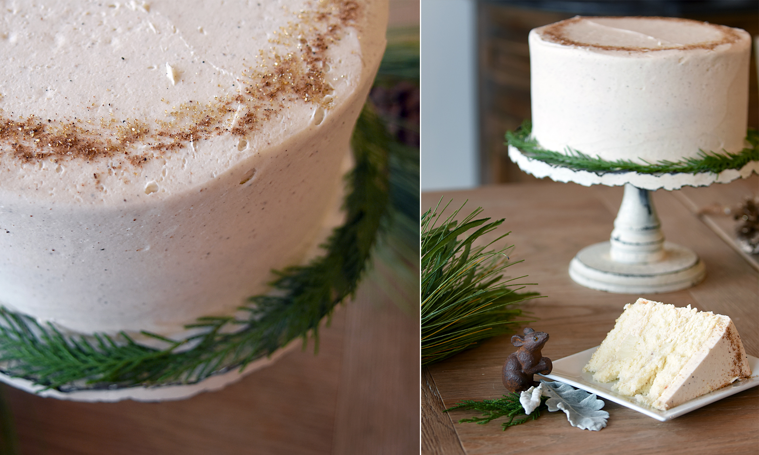 Christmas Cake   35 half / 58 whole  An eggnog layer cake with our small-batch custard filling and a nutmeg buttercream! A truly memorable cake for the holidays! Featuring NC cake flour, local, free-range eggs, organic extracts, and pure rum and brandy! We will be delighted send you on your way with fresh greenery with which to garnish the cake plate! Decorating is half of the fun of the holidays!   (Available during the month of December)