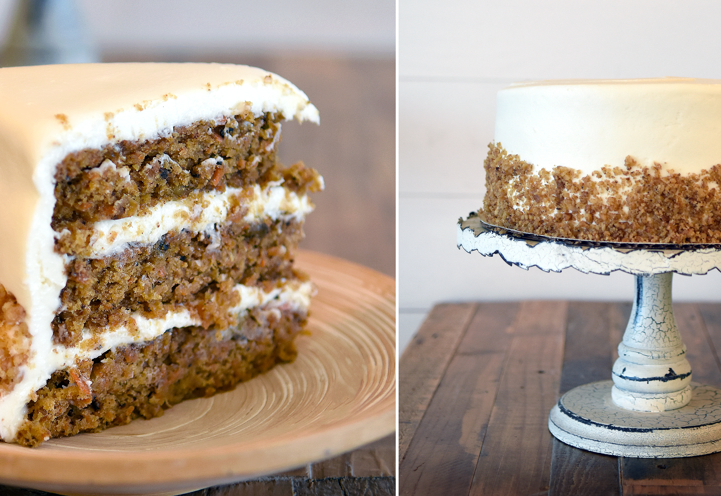 """18 Carat"" Cake   35 half / 60 whole  Made with grated organic flour and carrots, pineapple, walnuts & spice. Lightly coated in toasted crushed walnuts. Our favorite carrot cake – ever!"