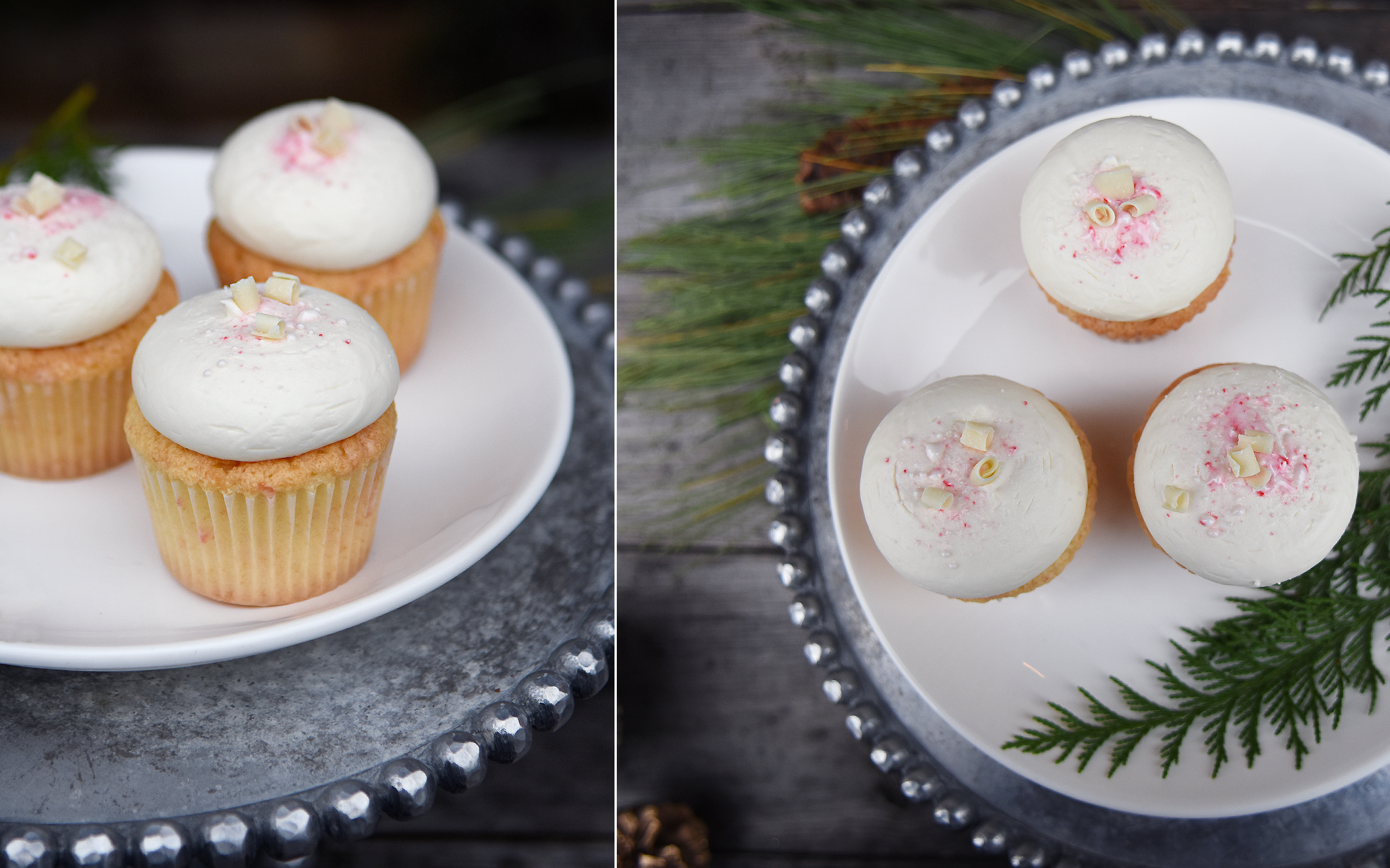 White Chocolate Peppermint Cupcake   2.95 each  We nestle crushed candies and white chocolate into our batter, then frost with white chocolate buttercream! So fun!   (Available December and January)