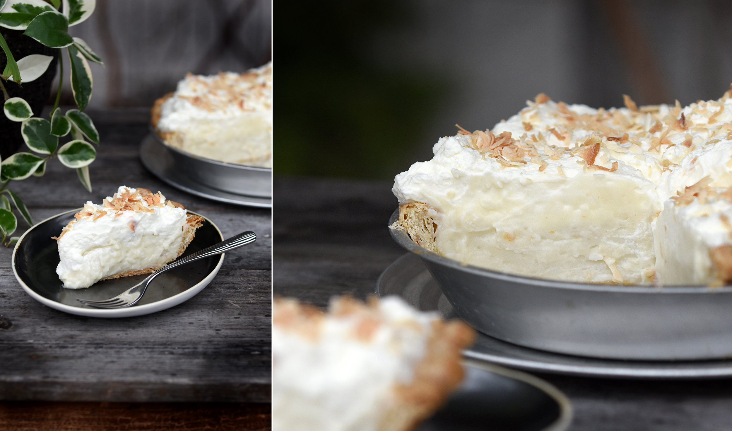 Coconut Cream Pie   5.25 per slice / 38 whole  Another staff favorite! The filling is so thick and satisfying! Full of flavor and texture. You must try this pie if you like coconut! Piled high with our amazing whipped cream from Homeland Creamery.