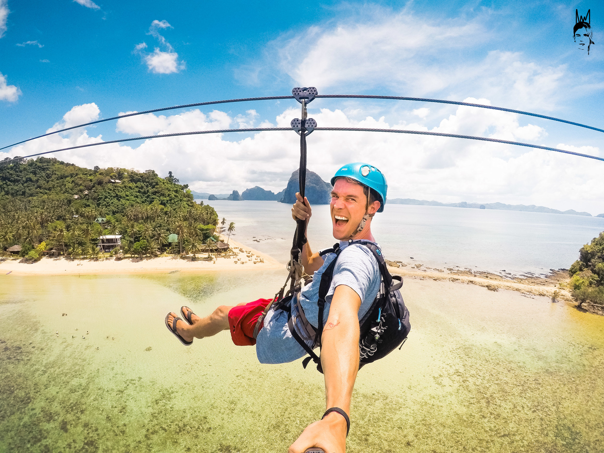 Zip lining from one island to another! El Nido