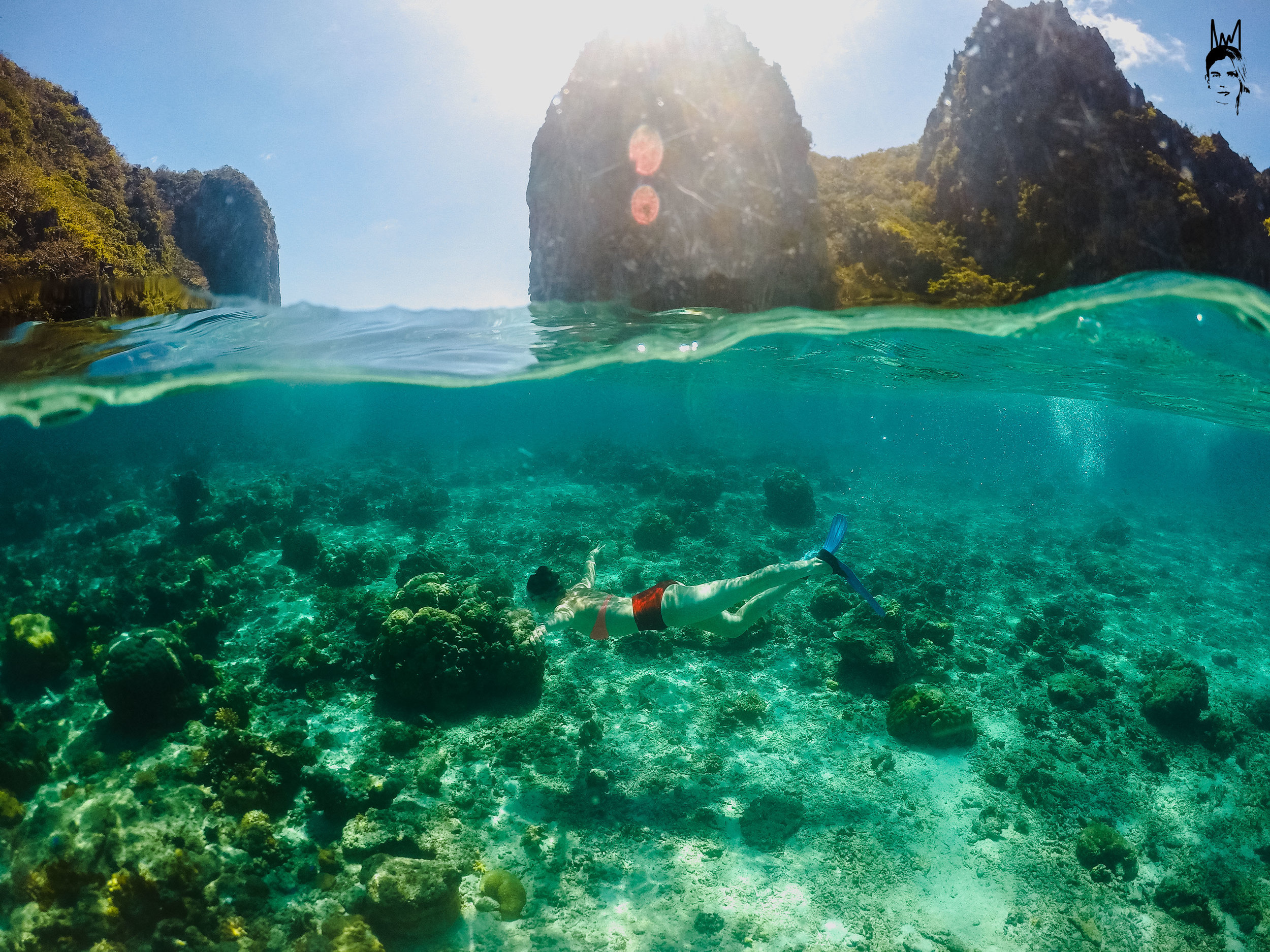 Snorkelling in the lush green waters