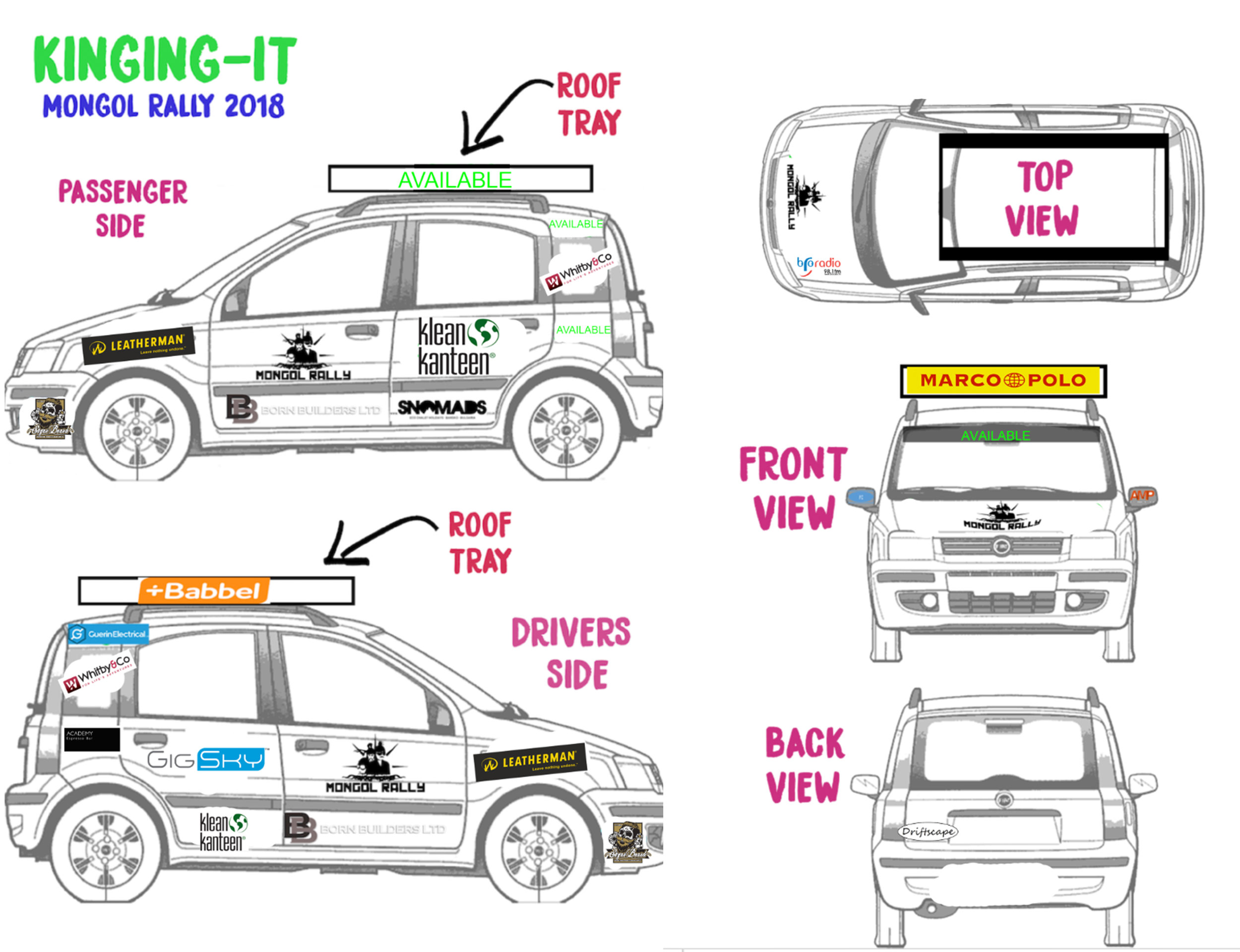 Sponsors for the Mongol Rally Car