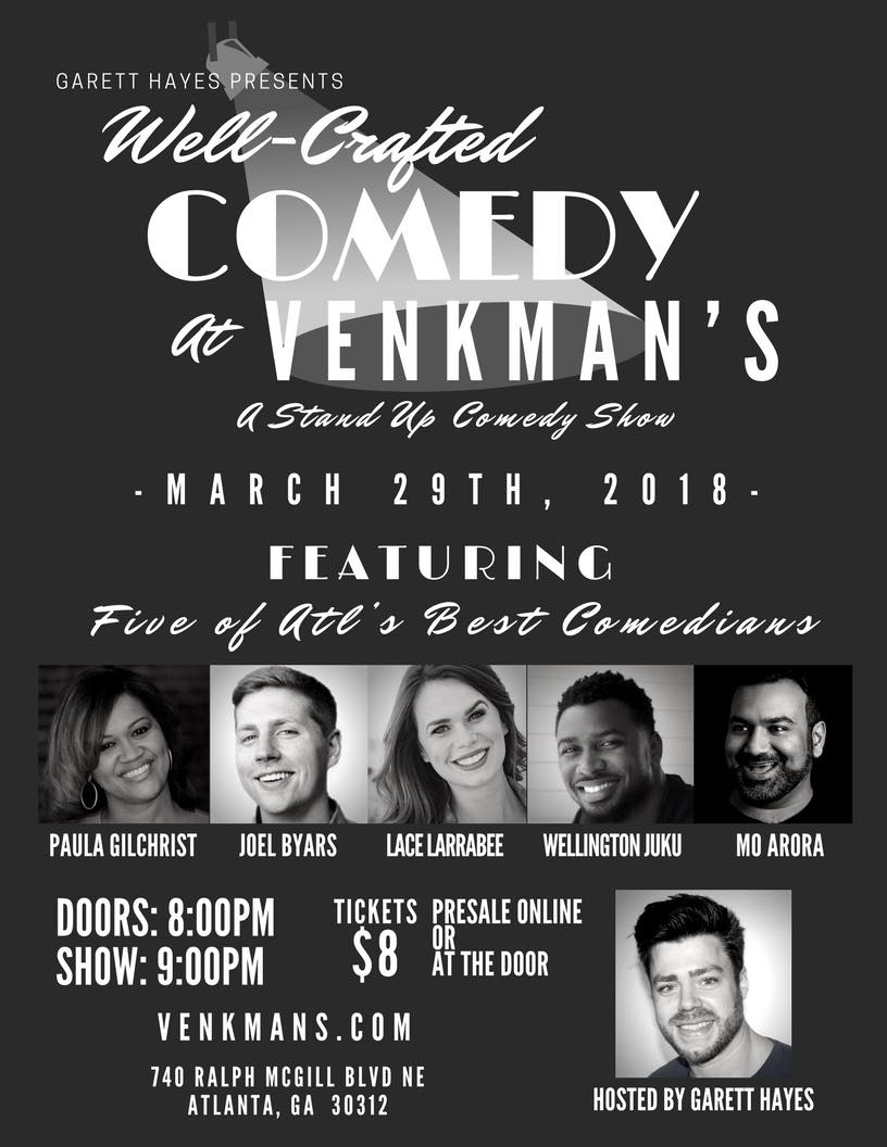Well-Crafted Comedy hosted by Garett Hayes at Venkman's Atl.jpg