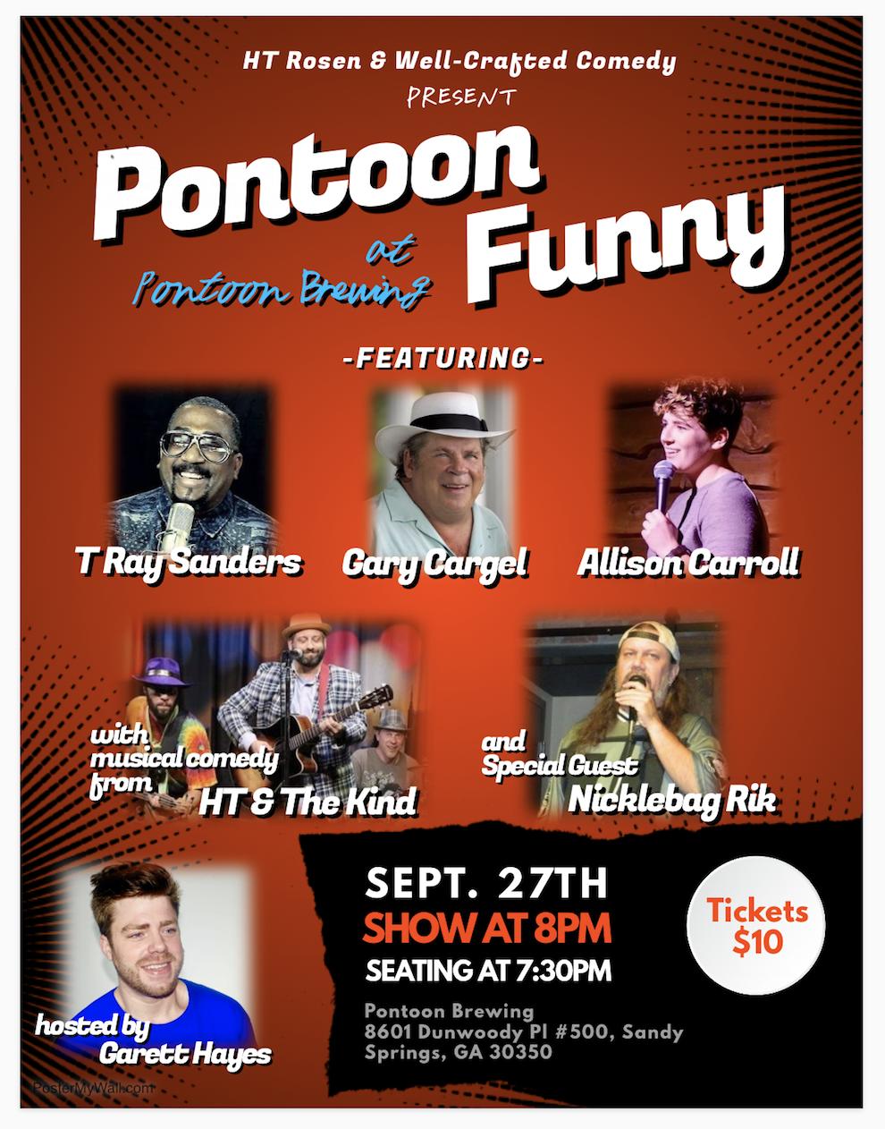 Pontoon Brewing logo, comedy show