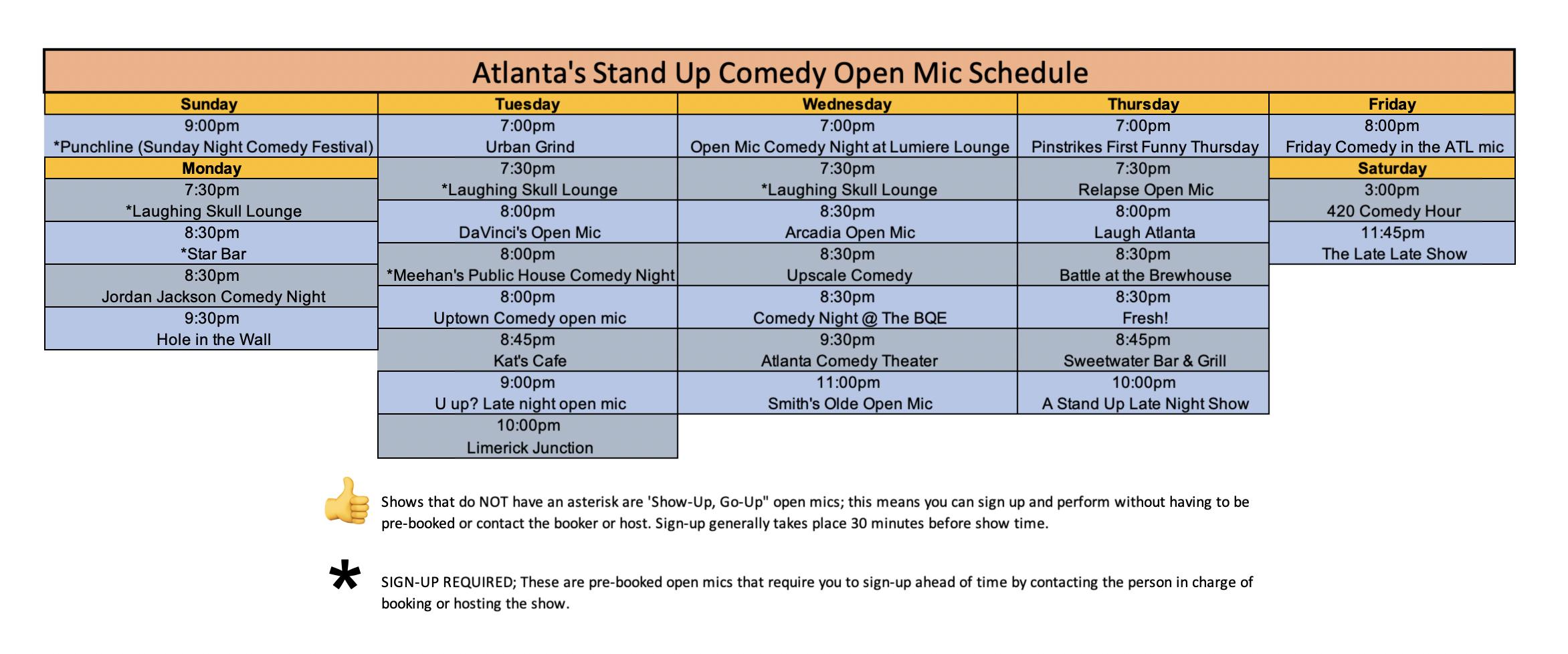 Atlanta Comedy Open Mics