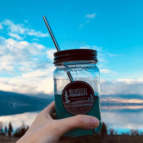 True Blue in Mason Jar with Stainless Steel Straw