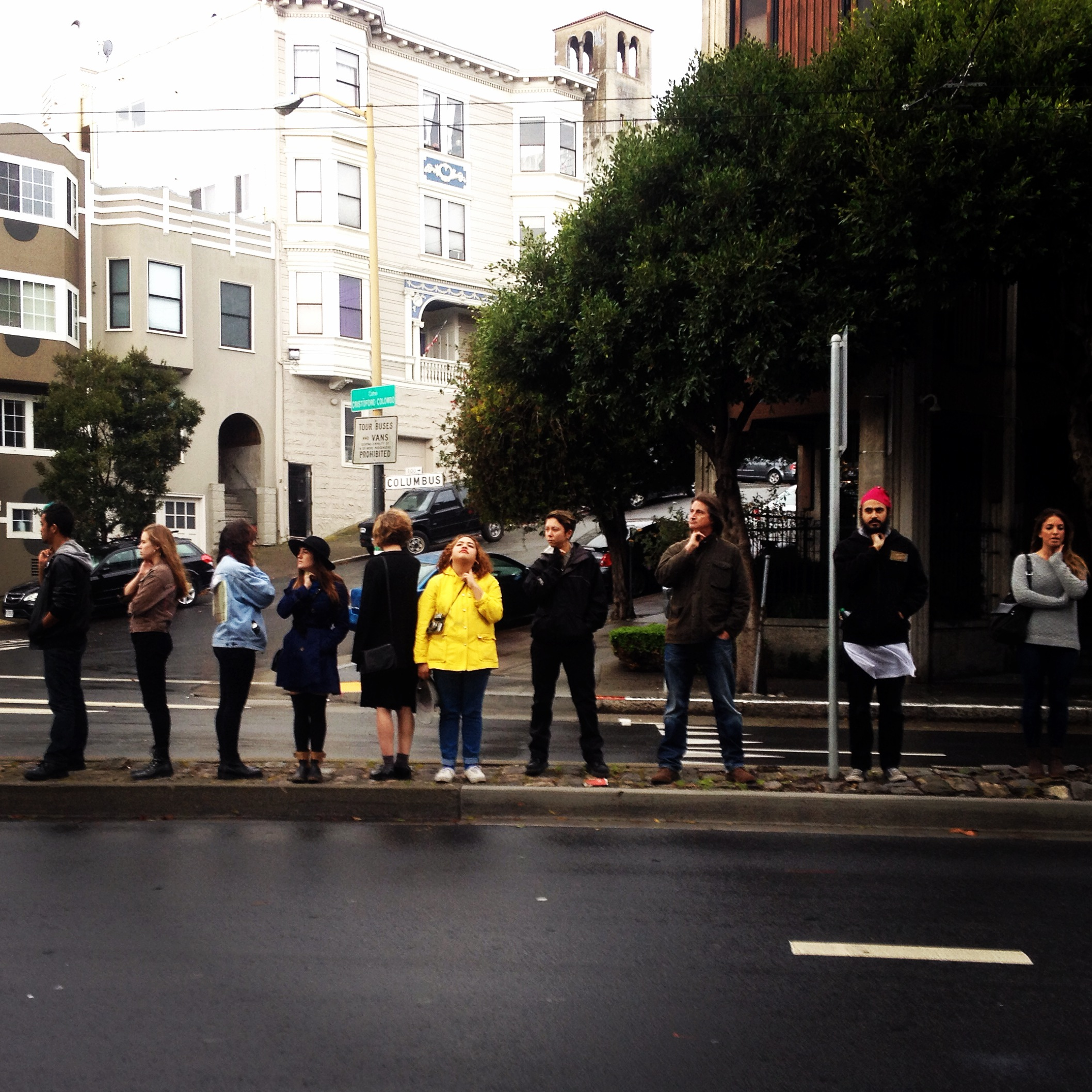 Students conducting rhythmanalysis of Columbus St. in San Francisco
