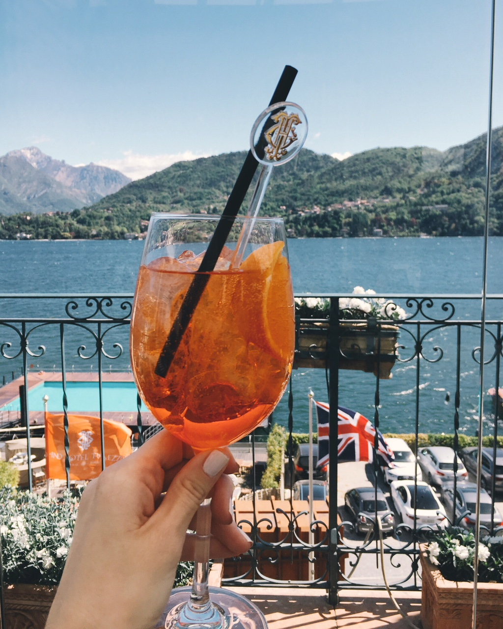 Aperol Spritz from Grand Hotel Tremezzo T Bar with view of Lake Como