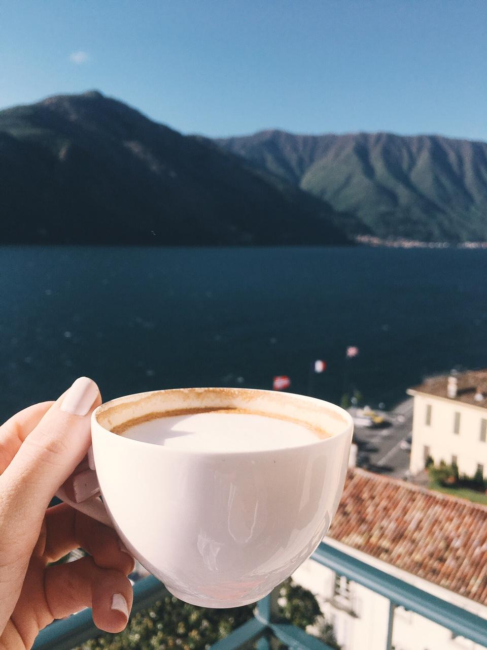 Lake Como view from balcony of Grand Hotel Tremezzo room