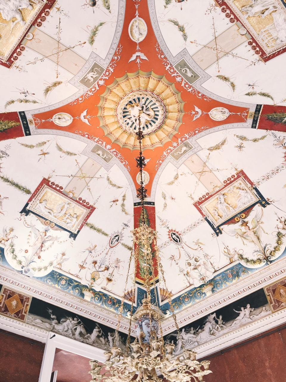 Villa Carlotta in Lake Como, Italy painted frescoe ceilings